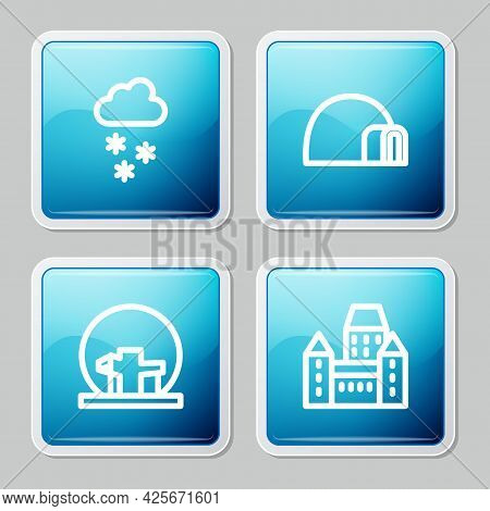 Set Line Cloud With Snow, Igloo Ice House, Montreal Biosphere And Chateau Frontenac Hotel Icon. Vect