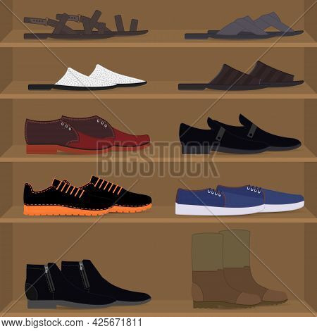 Set Different Types Of Mens Pair Shoes And Boots On The Shelves. Men's Couples Of Shoes On The Rack
