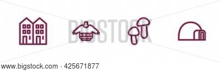 Set Line House, Mushroom, Christmas Sweater And Igloo Ice House Icon. Vector