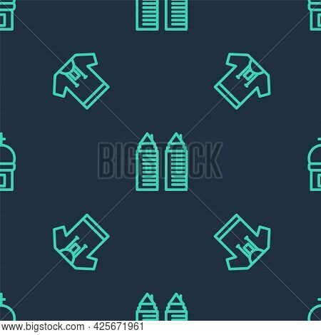 Set Line Two Towers In Dnipro, Embroidered Shirt And Church On Seamless Pattern. Vector
