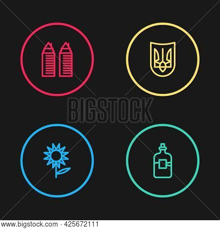 Set Line Sunflower, Bottle Of Vodka, Ukrainian Trident And Two Towers Dnipro Icon. Vector