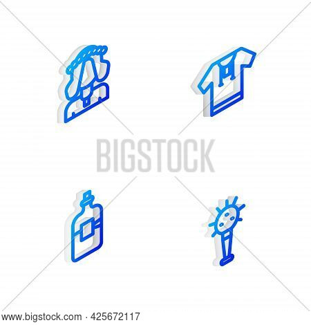 Set Isometric Line Embroidered Shirt, Ukrainian Woman, Bottle Of Vodka And Mace Icon. Vector