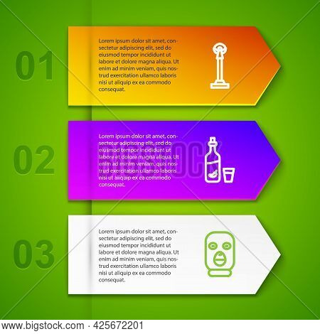 Set Line Monument Of Independence, Vodka With Pepper And Glass And Thief Mask. Business Infographic