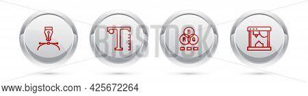 Set Line Fountain Pen Nib, Text, Rgb Color Mixing And 3d Printer. Silver Circle Button. Vector