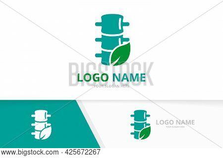 Spine And Leaf Logo Combination. Eco Vertebral Column Logotype Design Template.