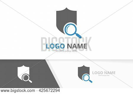 Vector Shield And Loupe Logo Combination. Safe Seach Logotype Design Template.