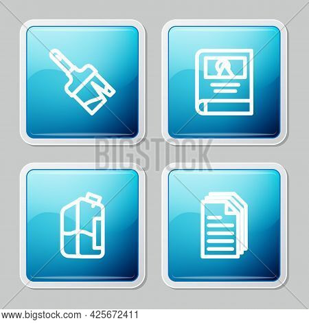 Set Line Paint Brush, Photo Album Gallery, Printer Ink Bottle And File Document Icon. Vector