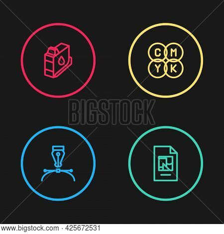 Set Line Fountain Pen Nib, File Document, Cmyk Color Mixing And Printer Ink Cartridge Icon. Vector