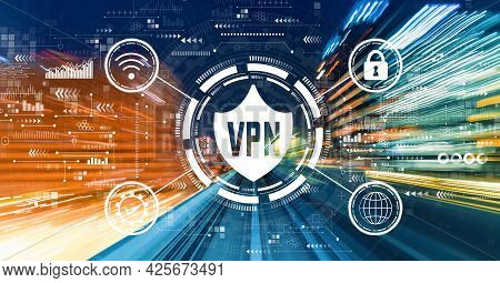 Vpn Concept With Abstract High Speed Technology Motion Blur