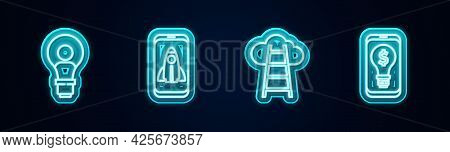 Set Line Head With Lamp Bulb, Startup Project Concept, Stair Finish Flag And Light Dollar Mobile. Gl