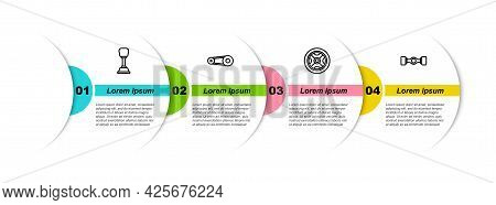 Set Line Gear Shifter, Timing Belt Kit, Car Wheel And Chassis Car. Business Infographic Template. Ve