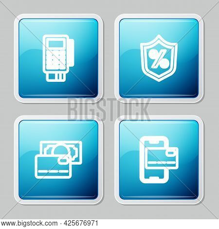 Set Line Pos Terminal With Credit Card, Loan Percent, Credit And Mobile Banking Icon. Vector