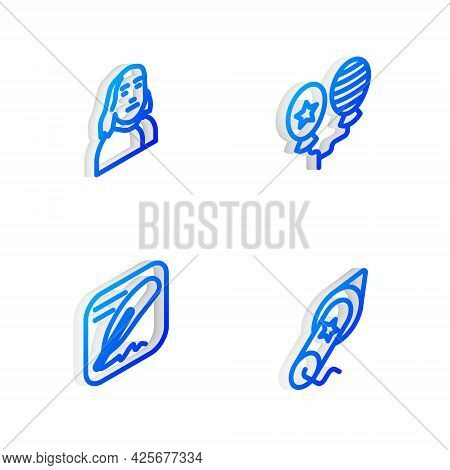 Set Isometric Line Balloons, Benjamin Franklin, Declaration Of Independence And Firework Icon. Vecto