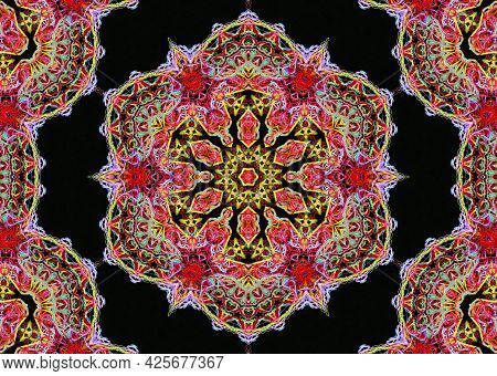 Abstract Pattern Of Bright Multicolored Threads On A Black Background, Image With 3d Effect