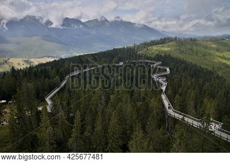Bachledova Valley - The Atractive Destination In Slovakia With A Wooden Foothpath Between The Treeto