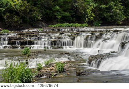 One Of The Cascades At Burgess Falls State Park In Tennessee With Multiple Waterfalls On The Falling