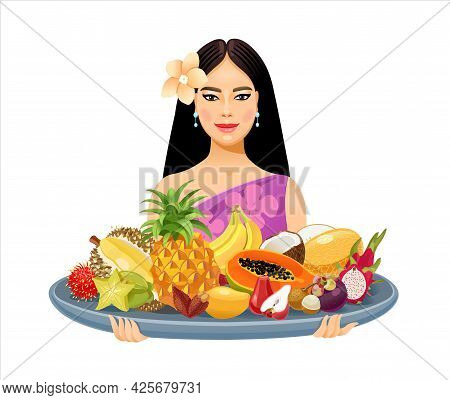 A Beautiful Thai Girl Holds A Large Tray With Thai Fruits In Her Hands. Thailand. Banana, Coconut, M