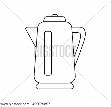 Electric Kettle Icon. Vector Line Art Illustration. Kitchen Appliances Isolate On White Background.
