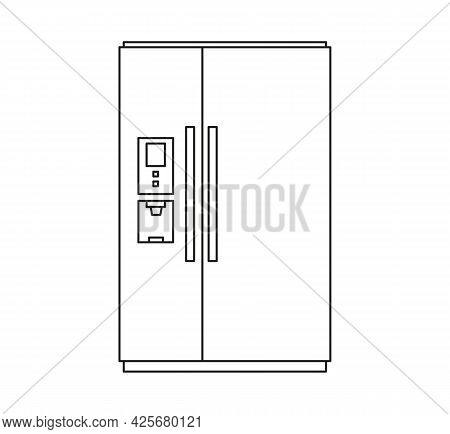 Household Refrigerator And Freezer For Food Storage. Vector Icon In Line Art Style. Isolate On White