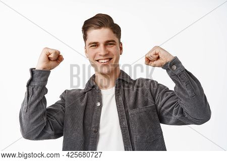 Close Up Of Happy Caucasian Man Chanting, Celebrating And Triumphing, Make Fist Pump And Smiling Sat