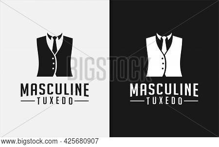 Black Tuxedo Suit Masculine Gentleman Fashion Tailor Clothes Classic Logo Design. Graphic Design Ele