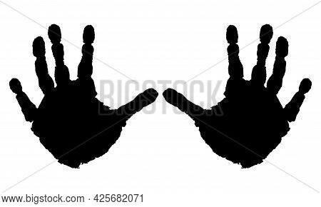 Handprints Of Palms Of Child, Isolated. Vector Illustration.