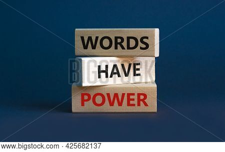 Words Have Power Symbol. Wooden Blocks With Words 'words Have Power' On Beautiful Grey Background. B