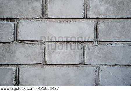 Brick Wall Texture. White And Gray Brick Wall Background. Detail Of A Gray Brick Wall Texture