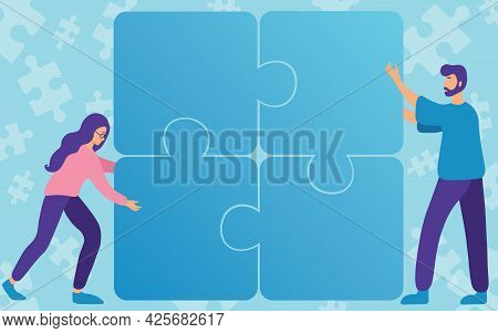 Colleagues Drawing Fitting Four Pieces Of Jigsaw Puzzle Together Showing Teamwork. Teammates Finding