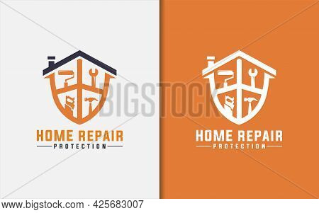 Home Repair Logo Design. Abstract House And Shield Combined With Constructions Repair Tool. Graphic