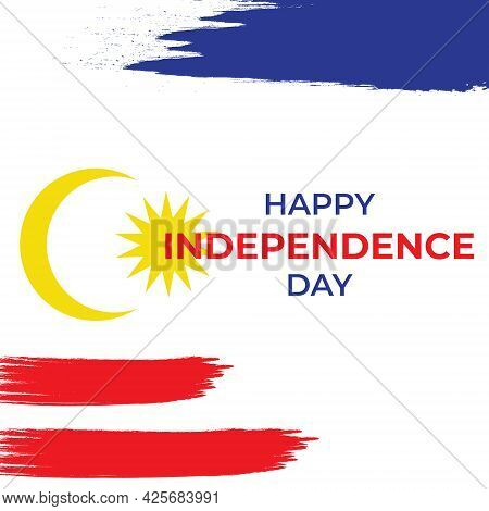 A Vector Of Happy Independence Day Of Malaysia With Malaysia Colour Flag In Brush Stroke.