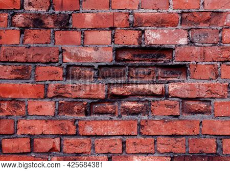 Brick Wall With Red Brick, Red Brick Background. Old Cracked Red Bricks Texture. Old Destroyed Brick
