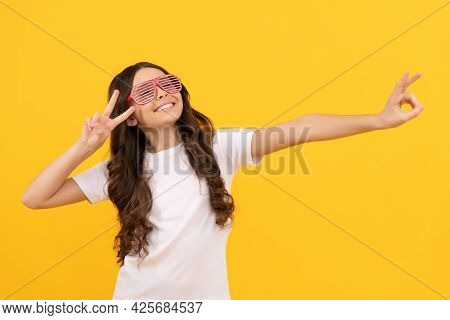 Fancy Child In Glamour Party Eyeglasses With Rhinestones Having Fun, Fun