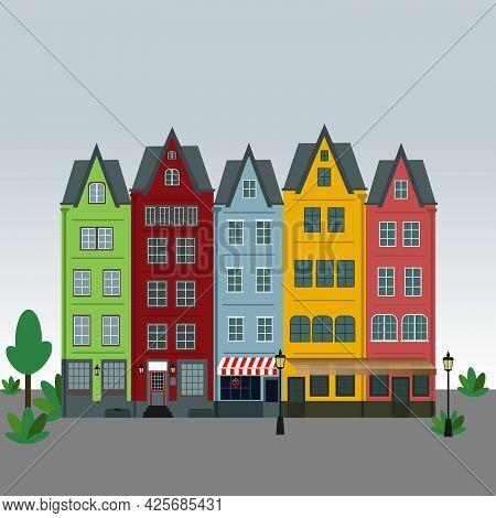 Row Of Amsterdam Style Old European Narrow Houses.