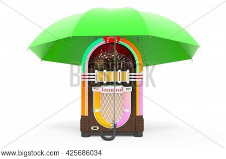 Classic Musical Jukebox Under Umbrella, 3d Rendering Isolated On White Background