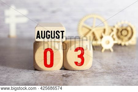 August 3Rd,image Of Number 3 Wooden On Grey And Light Brown Color Background With Space For Your Tex