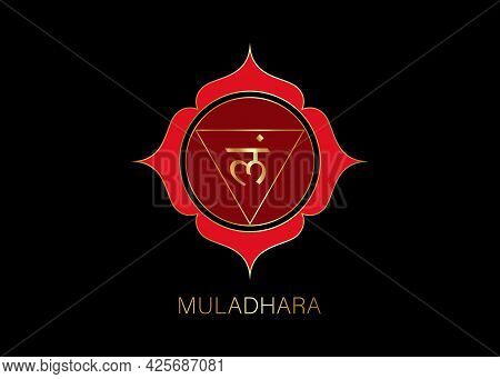 Muladhara Chakra Logo Template. First Root Chakra Symbol. Red And Gold Sacral Sign Meditation, Yoga