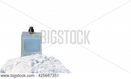 A Bottle Of Toilet Water For Men On A White Background. Perfume For Men Blue Bottle