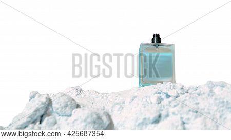 Male Eau De Toilette Bottle Isolated On White Background. Perfume For Men