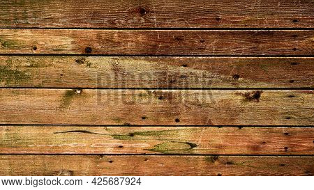 Texture Of Old Boards, Background From Old Boards With Scratches, Abstract Background Board. A Copy