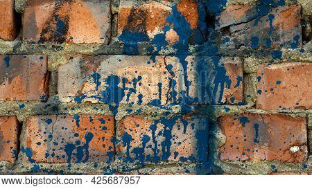3 Background Brick Wall In A Splash Of Paints. Copy Space. The Texture Of The Old Red Brick.