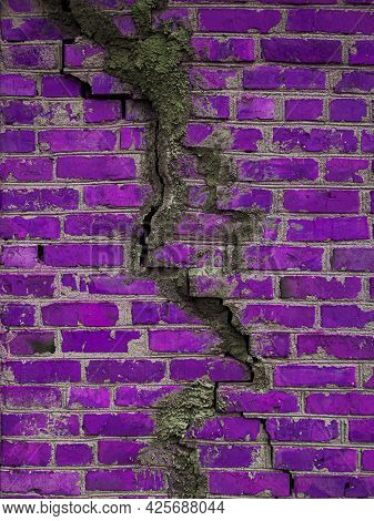 Texture Of A Brick Wall With Cracks In Purple. Destroyed Ancient Wall Violet. Brick Background Copy