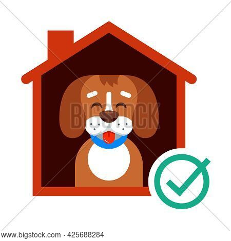 Take A Dog From The Shelter To His Home. Happy Dog In The Booth. Flat Vector Illustration.