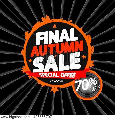 Autumn Sale Up To 70% Off, Poster Design Template, Fall Season Offer. Discount Banner For Online Sho