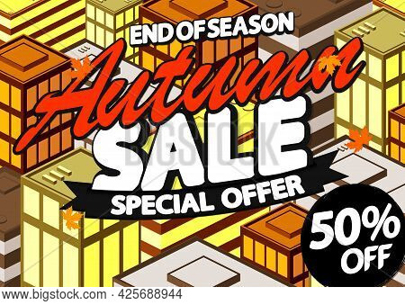 Autumn Sale Up To 50% Off, Poster Design Template, Season Best Offer. Fall Discount Banner For Onlin