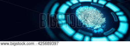Fingerprint Technology Scan Provides Security Access. Advanced Technological Verification Future And