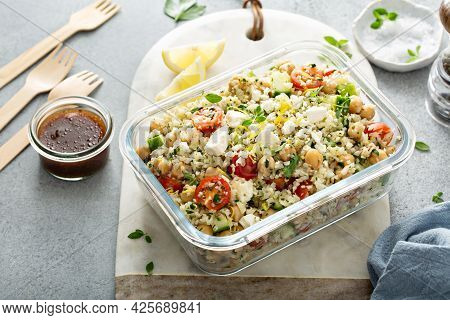 Healthy Low Carb Salad With Cauliflower Rice And Chickpeas