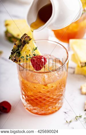 Pineapple, Raspberry And Honey Cocktail Or Mocktail
