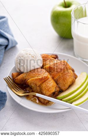 Apple Dumplings In Flaky Pastry With Caramel Sauce
