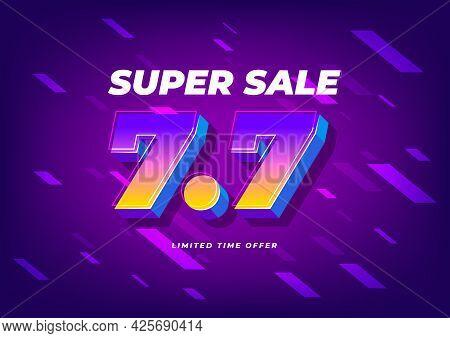 7.7 Shopping Day Sale Poster Or Flyer Design. 7.7 Super Sale Online Banner.